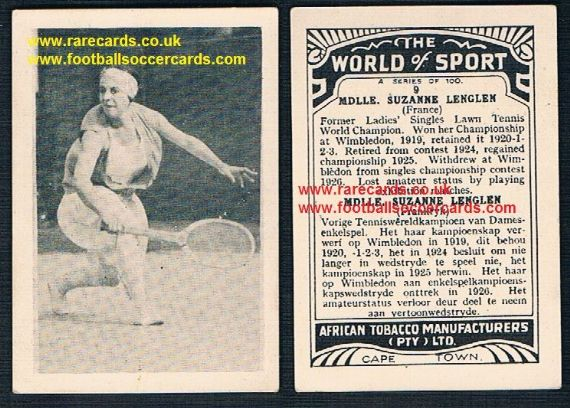 1930's South African Tobacco Cape Town World of Sport tennis card 9 Suzanne Lenglen